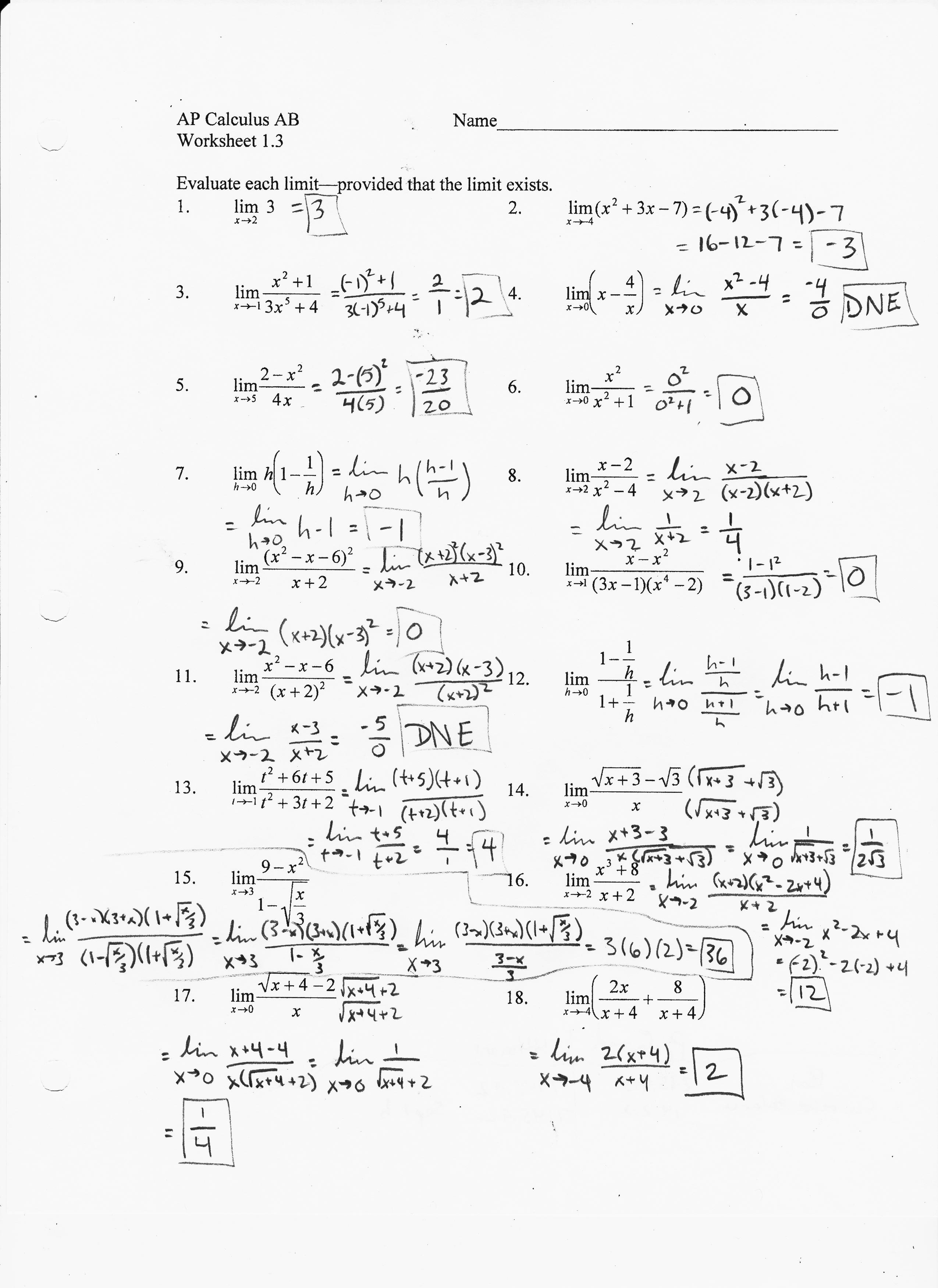 Worksheets Difference Quotient Worksheet ab chapter 1 mr pomerance 814 3 worksheet solutions